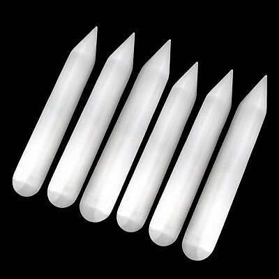 6x Polished Smooth Selenite Crystal Massage Wand Healing Pencil Point Reiki BULK