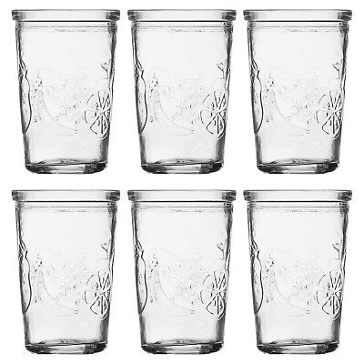 6 X Ravenhead Embossed Fruit Glass Tumbler Set Stackable Juice Water Glasses