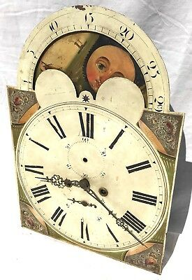 Lovely Antique Long Case Grandfather Clock Dial And Movement Rolling moon 8 Day