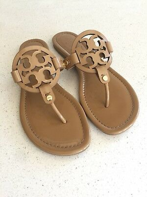 9ee464d9ac50 1624 TORY BURCH Miller Sand Patent Leather Thong Sandals Women Size ...
