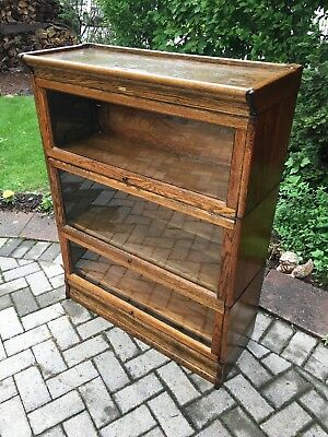 Antique Quartered Oak 3 Stack Barrister Bookcase