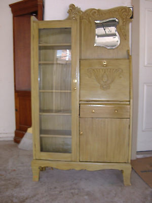 Antique Oak Secretary Desk Bookcase with Beveled Mirror