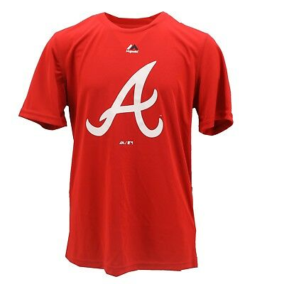Atlanta Braves Official MLB Majestic Cool Base Youth Size Athletic Shirt New