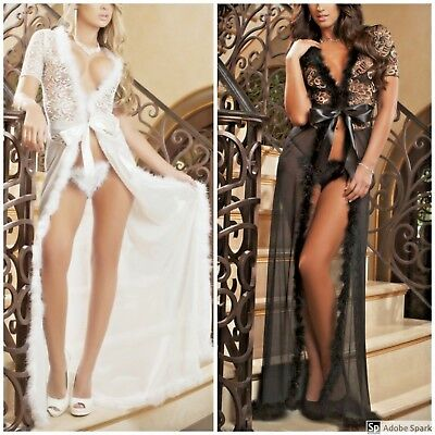 Women Sexy/Sissy Lace Lingerie Long Dress Sheer Robe See Through Gown Nightwear