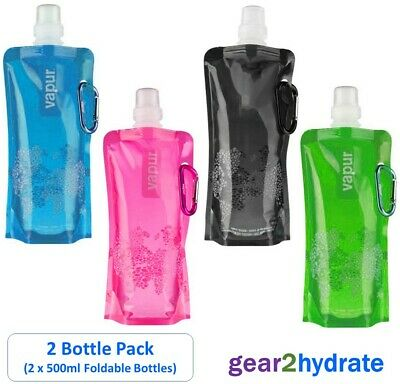 2 x 500ml Foldable Water Bottles Folding Drink Outdoor Sports Travel Container