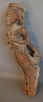 LG Antique ORIENTAL CARVED Wood SHIP FIGUREHEAD Old LADY BUDDHA Statue SCULPTURE