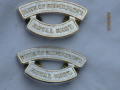 DUKE OF EDINBURGHS ROYAL REGIMENT SHOULDER TITLES, Pair, Anodised Aluminium
