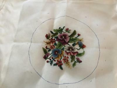 Preworked Needlepoint Canvas Flying Needles Floral # 062907