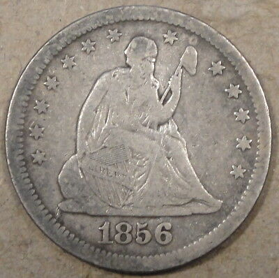 1856 Seated Liberty Quarter Graffiti Reverse as Pictured