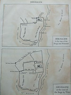 Antique Print 1926 Map Jerusalem In Time Of Kings And Nehemiah Siege By Titus