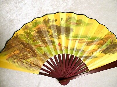 "Chinese Asian Bamboo Folding Hand Fan with COWBOY for Large Wall Decor 13"" x 23"""