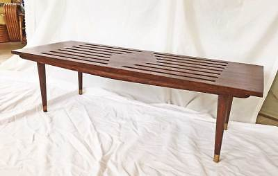 Mid Century Modern Original Vintage Slat Top Table Long Bench Coffee Tapered Leg