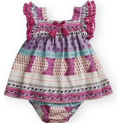 460773c90 NWT BABY GIRL JESSICA SIMPSON PINK/ IVORY DRESS W/ DIAPER COVER SIZE ...
