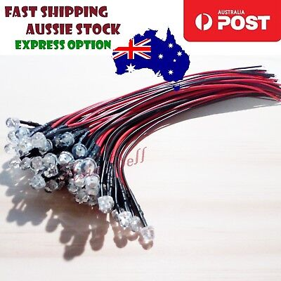 10pcs 3mm 12V White Straw Hat LEDs Wired Cables 8000MCD Car/Boat Light Pre-Wired