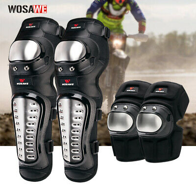Motorcycle Stainless Steel Elbow Knee Pads Armour Shin Guards Protective Gear