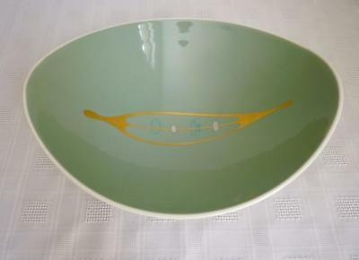 FRANCISCAN CONTOURS LG ELIPSE BOWL #47 GREEN WITH DECAL ~ MCM 1950s ART WARE