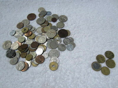 Lot of 100 assorted world foreign coins mixed bulk + 5 Euro coins # 1