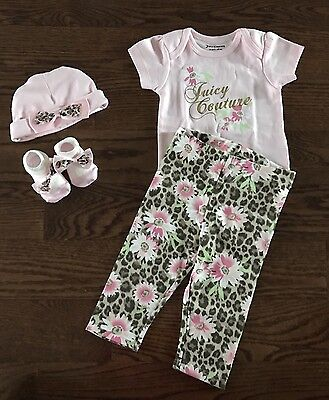 25a96280b NIB JUICY COUTURE Infant Baby Girls 4 Piece Gift Box Layette Set 3-6 Months