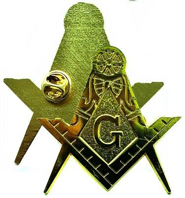 MASONIC Large compass and square TOP NOTCH GOLD Plated Lapel pin