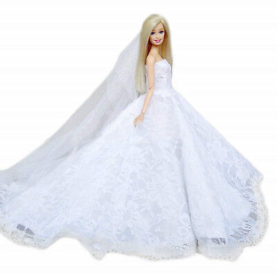 White High quality Fashion Wedding Party Gown Bling Dresses & Clothes for Barbie