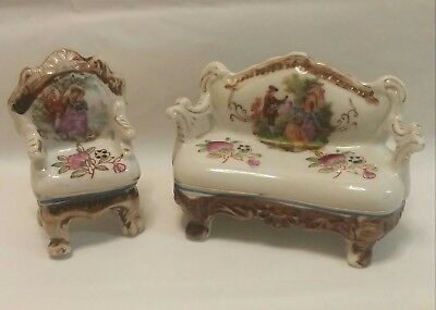 Vintage Porcelain Miniature Couch Sofa & Chair - Doll Furniture - Occupied Japan