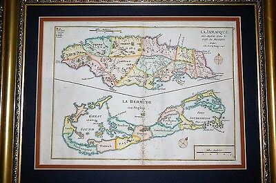 "RARE ORIGINAL Dated 1746 BERMUDA MAP BERMUDIAN JAMAICA 17.5"" X 14.5"" FRAMED"