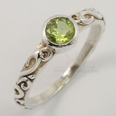 925 Solid Sterling Silver Natural Peridot Gemstone Antique Style Ring All Sizes