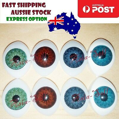 8pcs Oval Plastic Eyes 14x10mm 8mm Iris Reborn Dolls Green Blue Brown Green Doll