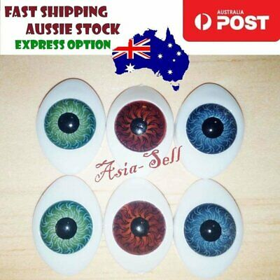 6pcs Oval Plastic Eyes 23 x 16mm 12mm Iris Reborn Dolls Green Grey Brown Doll
