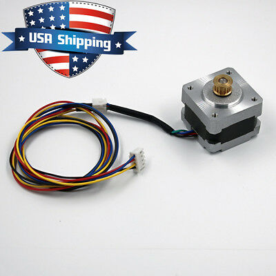 NEMA 14 Stepper Motor 0.9deg (400step/rev) 0.4A 15.6oz.in with 15T Copper Gear