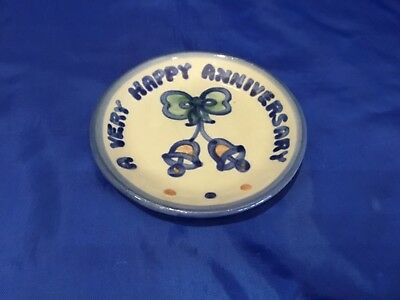 A VERY HAPPY ANNIVERSARY 4 Inch Hand Painted MA HADLEY Dish Mint!