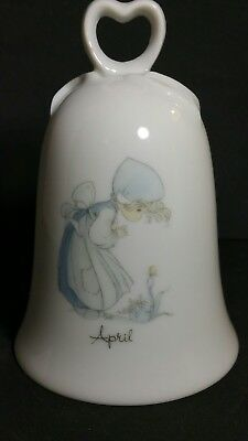 PRECIOUS MOMENTS April Bell-Birthday Girl with Flower Porcelain 1985 No Box