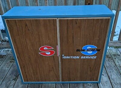 Blue Streak Vintage Original Ignition Auto Parts Service Station Wall Cabinet
