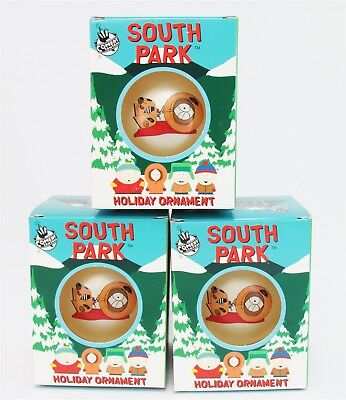 "Lot of 3 KENNY DEAD South Park Holiday Ornament Ball 4"" Xmas Tree Decoration NEW"