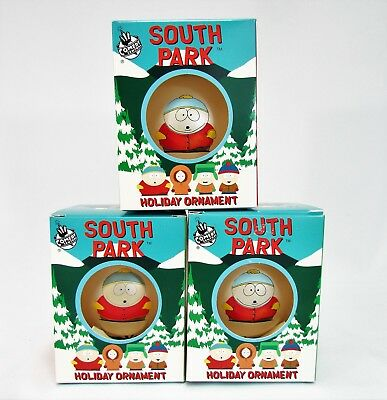 "Lot of 3 CARTMAN South Park Holiday Ornament Ball 4"" Xmas Tree Decoration NEW"