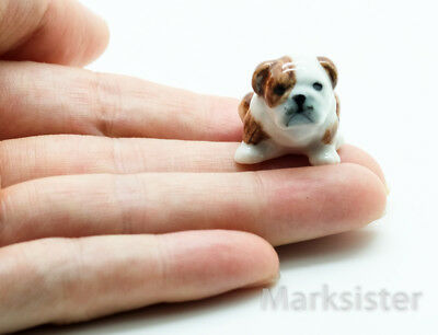 Figurine Animal Miniature Ceramic Statue Tiny Bulldog Dog - CDG058