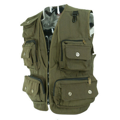 Adjustable Waist Fly Fishing Vest Breathable Mesh Hike Jacket Army Green XXL