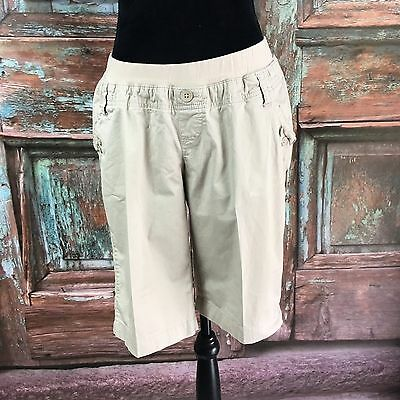 Old Navy Maternity Women Size M Khaki Stretch Cargo Board Bermuda Shorts