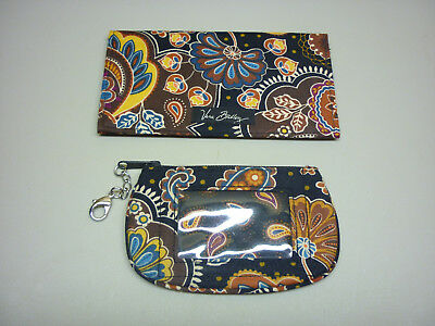 Vera Bradley Kensington Checkbook  Cover & Zip ID Case Black Brown Paisley