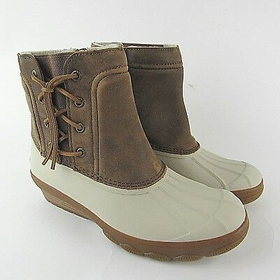 ccf07a6ee28 Sperry Top Sider Saltwater Wedge Spray Duck Boot Ivory Leather 80468 Womens  Sz 8