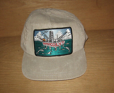 Conoco LVT Oil Gas Offshore Drilling Rig Corduroy Baseball Cap / Hat