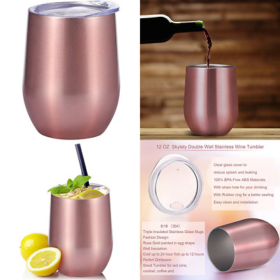 eddb1b098ff 12 Oz Double Insulated Stemless Glass Wine Tumbler Stainless Steel Cup W  Lids Fo
