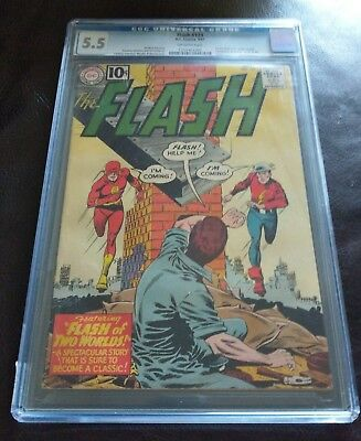 Flash #123 (1St Golden Age Flash In Silver Age) Huge Mega Key Issue: Cgc 5.5!!!