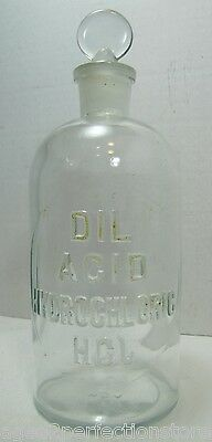 Antique Embossed Glass POISON Bottle DIL ACID HYDROCHLORIC HCL  Apothecary Lab