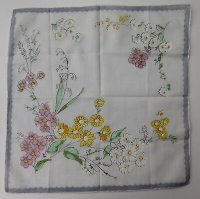 "Vintage floral handkerchief pocket square 11"" hand rolled hem flower design B"