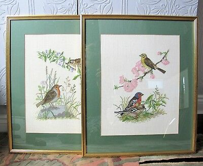 Pair of large good quality vintage Cross Stitch Embroidery Framed BIRTH PICTURES