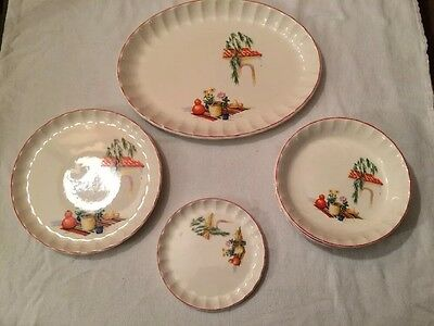 "Vintage W.S. George ""Bolera""Multi-Colored Beach Scene  7 Piece Dinnerware"