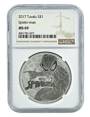 2017 Tuvalu Spider-man 1oz Silver Coin NGC MS69 - Brown Label
