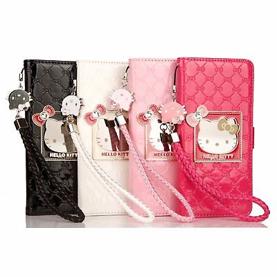 Cute Hello Kitty Handbag Leather Wallet Flip Case Cover For Samsung