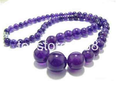 Excellent 6-14mm Amethyst Gemstone Necklace 17'' AAA